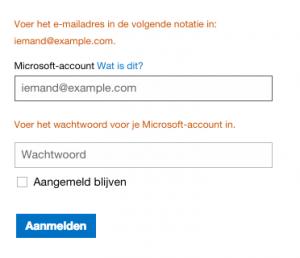 Ik kan niet inloggen op Hotmail